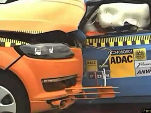 Crash test Fiat 500 vs Audi Q7 Car to Car